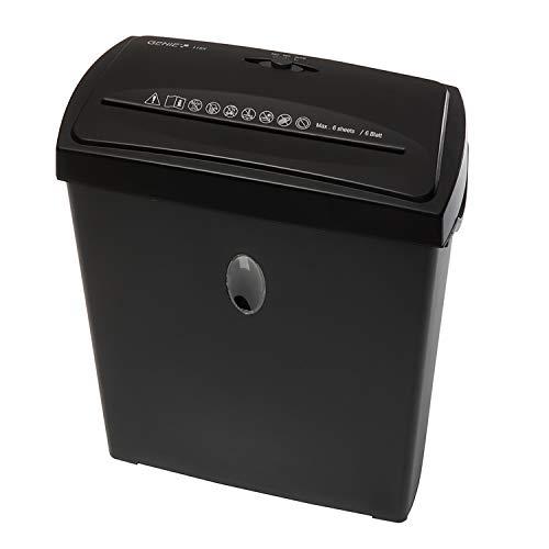 Genie 116 X Hochsicherheits Aktenvernichter; bis zu 6 Blatt; Partikelschnitt - Shredder (Sicherheitsstufe P-4); inkl. Papierkorb - geeignet für Datenschutz nach neuer Verordnung (DSGVO 2018); schwarz