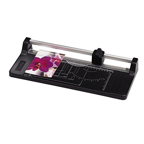 Hama Papierschneider mit Rollklinge, 32cm Schnittlänge, Easy Cut R 320 (Rollenschneidemaschine für Papier/Folie, Schneidebrett mit Schneidelineal, Foto/DIN Skala) Papierschneidemaschine, Schneidegerät