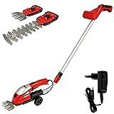 Grizzly Tools Akku Grasschere, Strauchschere AGS 8036 - Set aus Rasenschere mit Teleskopstiel und Laufräder, Inkl. Akku und Schnell-Ladegerät
