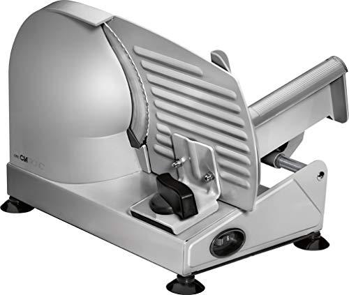 Clatronic MA 3585, Vollmetall-Allesschneider, Großes rostfreies Edelstahlmesser (Ø 190 mm), 150 Watt, Universalwellenschliff, Alu-Druckguss Motorgehäuse, Stufenlose Schnittstärke (0-15mm)