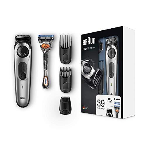 Braun Barttrimmer und Haarschneider BT5065, 39 Längeneinstellungen, AutoSense-Technologie, Präzisionsscherkopf, inkl. Gillette Rasierer, schwarz/silber