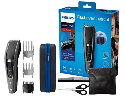 Philips HC7650/15, Haarschneidemaschine für Zuhause mit 28 Längeneinstellungen, Frisierumhang, Kamm, Schere und Aufbewahrungstasche