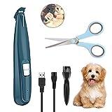 Welltop Haarschneidemaschine Haustiere mit LED-Licht, Professionelle Tierhaarschneider für Hunde und Katze, USB-Aufladung, Elektrische Haarschneidemaschine für Haare um Gesicht, Augen, Ohren, Pfoten