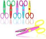 com-four® 6X Bastelschere, Büttenscheren mit vielen Schnittmustern - Bunte Kinderschere für kreatives Basteln - Dekor- und Motivschere für Fotogestaltung (6 Stück - runder Griff - 6 Muster)