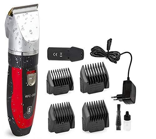 Ceramics RFC-208 Haustier Grooming Kit Leiser und Geräuscharmer Tierhaarschneider mit Turbo-Sense-Technology und 4 Aufsätze für 25 Schnittlängen, Drahtlose Wiederaufladbare Tierhaarschneidemaschine