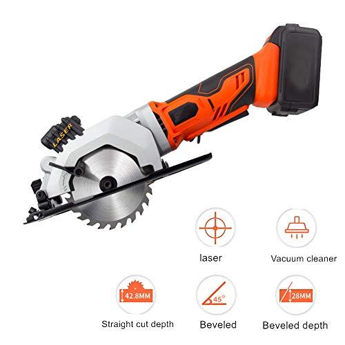 Multifunktionale Oblique Cut Kreissäge, 21V 3300RPM Laser Cordless Säge zur Holzschneidemaschine 4.0Ah Akku Fasen bis 45 °,2pcs battery