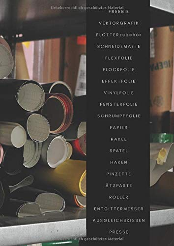 Freebie Vektorgrafik Plotterzubehör Schneidematte Flexfolie Flockfolie Effektfolie Vinylfolie Fensterfolie Schrumpffolie Papier Rakel Spatel Haken ... Mein DIY Tagebuch – HobbyPlotterNotizbuch