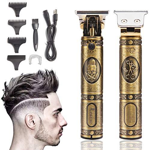 Xnuoyo Wiederaufladbar Profi Haarschneidemaschine, Kabelloser Haarschneider Bartschneider Elektrischer T-Trimmer Herren für Kinder und Familien (Golden)