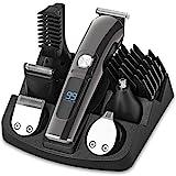 Haarschneider Barttrimmer Nasenhaartrimmer Körperhaartrimmer 11in1 Elektrischer Rasierer Herren, mit Akku 6 Scherkopf USB Schnellaufladung Batterie- und Strombetrieb, für Männer Kopf Nasen Ohr Körper