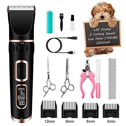 crenova Tierhaarschneider Haarschneidemaschine Schermaschine Hund Katze Haustier Wiederaufladbare Haarschneider Elektrische Haustier Clipper