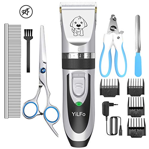 YiLFo Hundeschermaschine Schermaschine Hund Katze, Tierhaarschneidemaschine Leise Profi Schnurlosen Tierhaarschneider,Wiederaufladbare Elektrische Haarschneidemaschine[Upgrade Version]