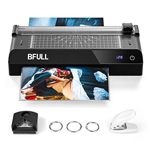 BFULL 6-in-1-Laminiergerät mit Touchscreen, Maschinenset Laminiergerät, A4, Eckabrunder, Papierschneider, 30 Laminier-Hüllen, Lochstanze, für das Zuhause/die Schule/die Büronutzung (schwarz)