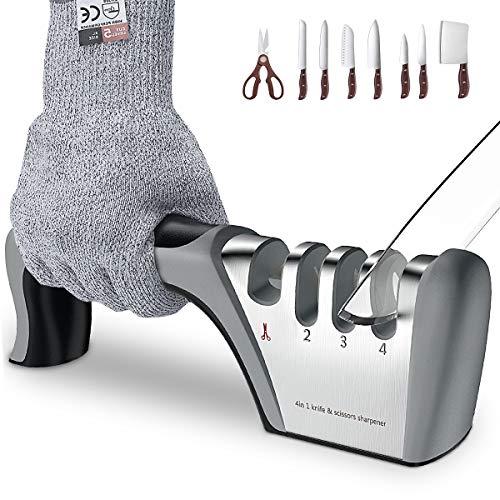 BMK Manuelle Messerschärfer Messerschleifer+ Anti-Schneidhandschuhe,4 Stufen 2020 Design Grobschärfen und Scheren Schleifen, Feinschärfen und Spezialkeramik für Präzisionsschärfen