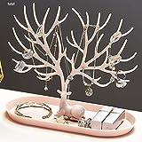 XIMIXI Schmuckständer Laserschneiden Schmuck Baum Organizer Baumständer Ringe Halsketten Ohrringe Armbänder Schmuckhalter mit Tablett (Rosa)