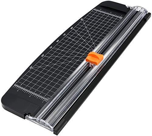 flintronic Papierschneider A4 Papierschneidegerät Tragbare Papierschneidemaschine mit Fingerschutz und Hilfslinie, Schneidegerät für Hause und Büro(Schwarz, 38cm)